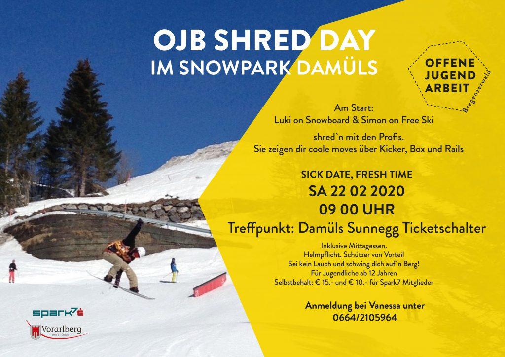 Ojb Shredday im Snowpark Damüls.